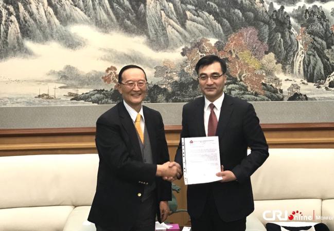 Монгол-Хятадын Найрамдлын Нийгэмлэгээс Хятад улсад хандив өргөв